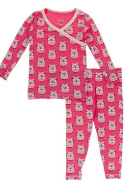 Kickee Pants Print LS Scallop Kimono Pajama Set, Taffy Owls