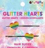 Iscream Glitter Hearts Hair Slides 880-165