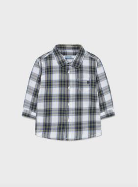 Mayoral 2146 63 Long Sleeve Checked Shirt, Hunt Green