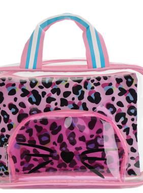 Iscream Pink Leopard Cosmetic Bag Trio 810-1440]