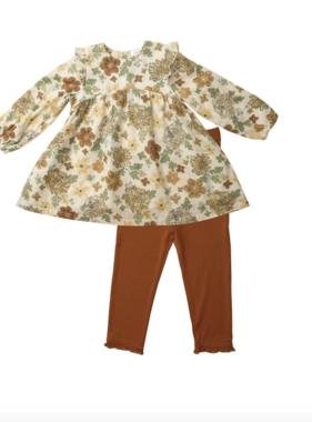 Angel Dear Chrysanthemum Ruffle Dress/Leggings, Grey