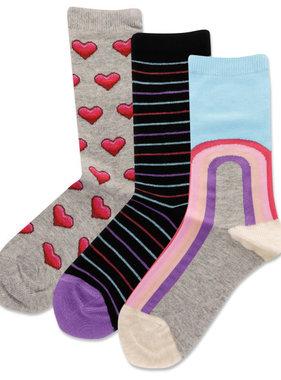 Hot Sox Sox Rainbows/Hearts 3pk Socks