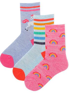 Hot Sox Sox Rainbows/Unicorns 3pk Socks