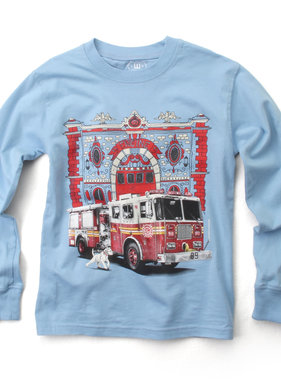 Wes And Willy 7828 Firetruck LS Tee NC Blue