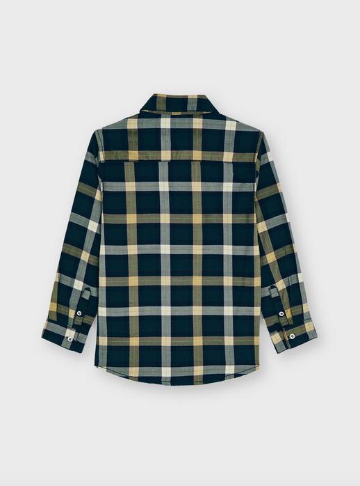 Mayoral 4168 38 Long Sleeve Small Plaid Shirt, Navy