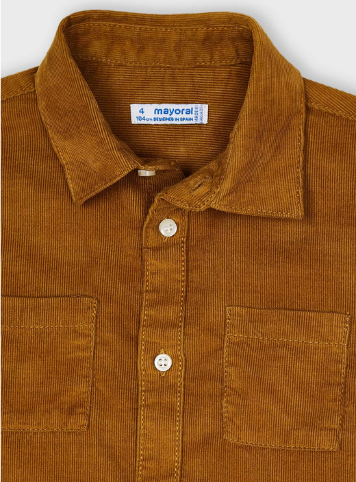 Mayoral 4164 75 Micro Cord Shirt Cinnamon