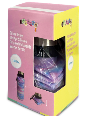 Iscream Silver Star Tie Dye Origami Collapsible Water Bottle 870-169