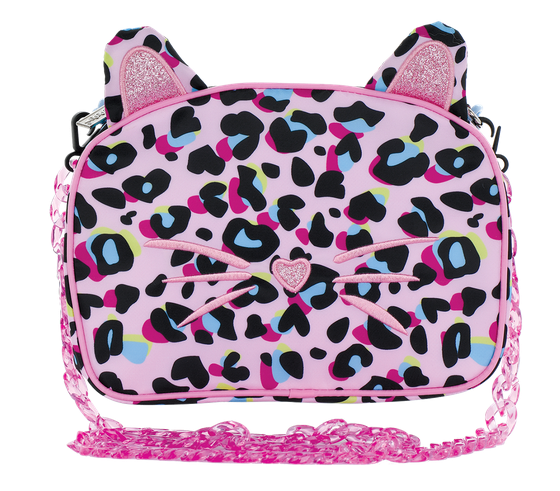 Iscream Pink Leopard Glitter Crossbody Bag 810-1444