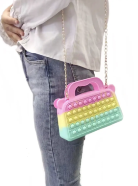 Bubble Pop Fidget Fidget Pop Pastel Purse with Gold Chain Strap
