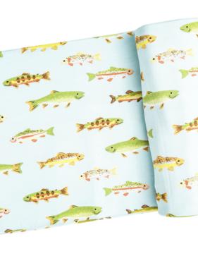 Angel Dear Freshwater Fish Swaddle Blanket Blue