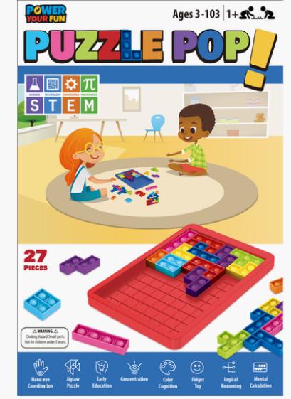 Bubble Pop Fidget 27 Pieces STEM Learning Puzzle Pop  Blue