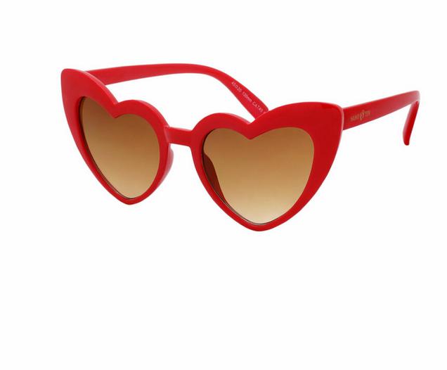 Hang Ten Red Polycarbonate UV400 Heart Sunglasses HTK18B
