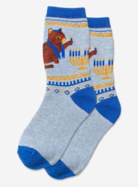 Hot Sox Sox Lighting The Menorah Socks - Blue