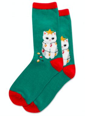 Hot Sox Sox Christmas Cats Socks - Green