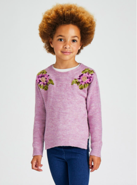 Mayoral 4371 25 Floral Sweater Lilac