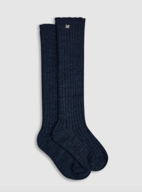 Abel & Lula 5906 73 Shimmer Ribbed High Socks, Navy