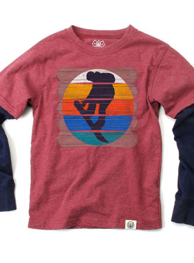 Wes And Willy 7800 Snowboards 2fer Tee, Deep Maroon