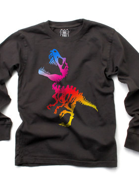 Wes And Willy 7839 Ombre Dino LS Tee, Metal