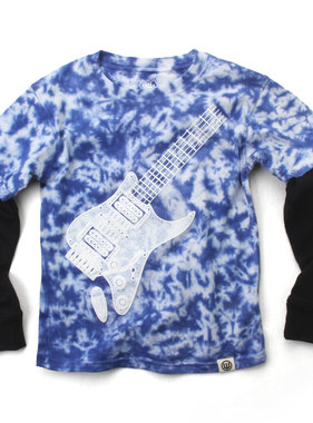 Wes And Willy 7790 Guitar Tie Dye 2fer Tee, Blue Moon