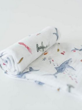 Little Unicorn Cotton Muslin Swaddle Single - Shark UB0171