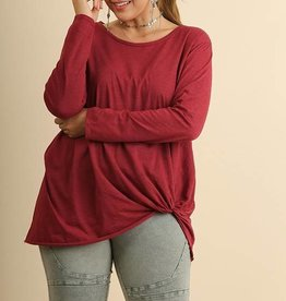 Side Gathered Long Sleeve Top