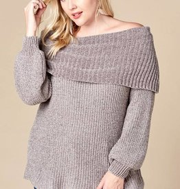Fold Over O/S Chenille Sweater