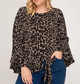 Bell Sleeve Leopard Print Blouse