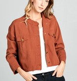 Collarless Denim Jacket