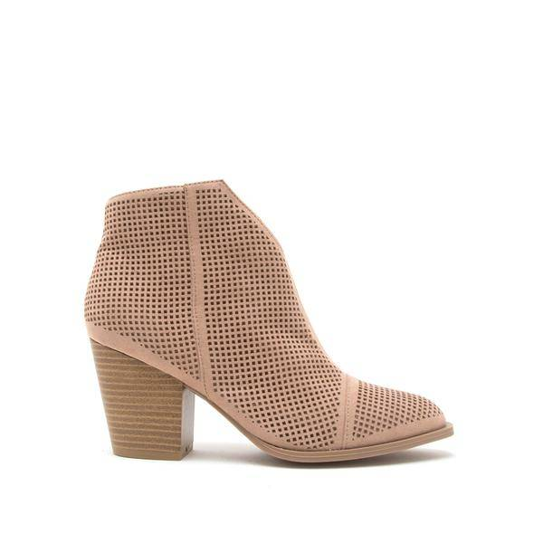 Perforated Suede Booties