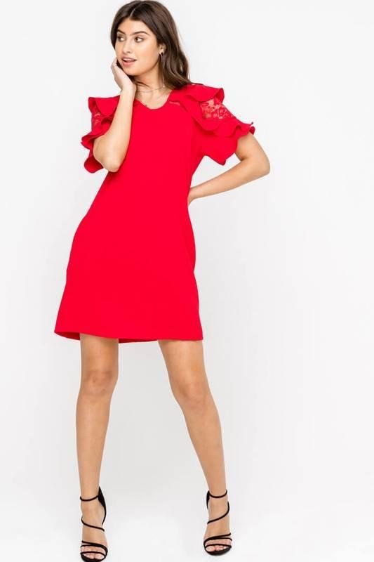 Ruffle Lace Sleeve Shift Dress