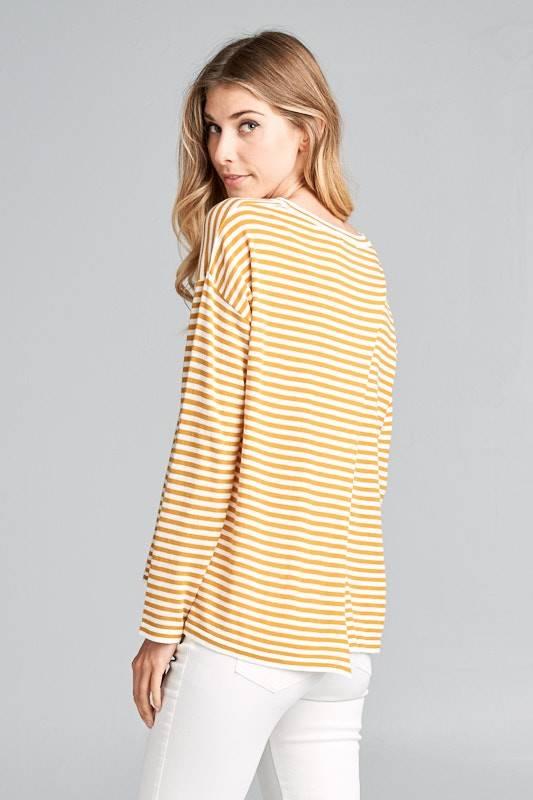 Stripe Overlap Back Top