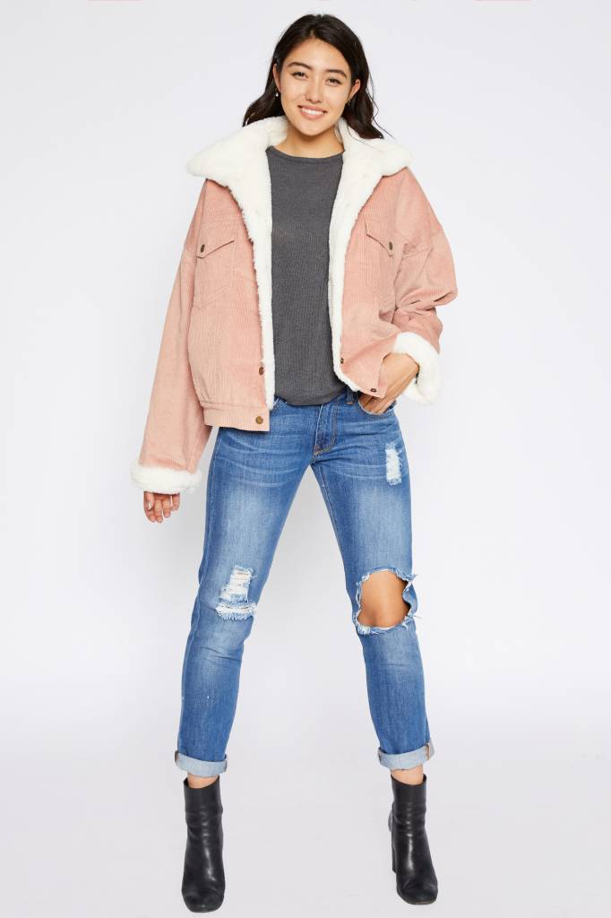 Faux Fur Corduroy Jacket