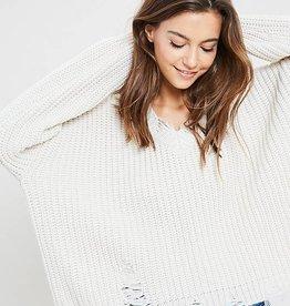 Shredded V Neck Pullover