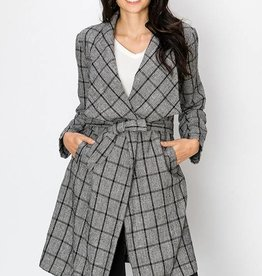Plaid Tie Waist Jacket