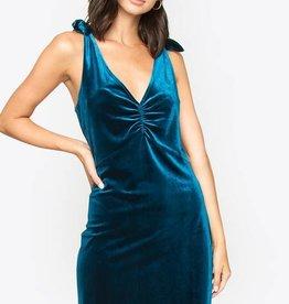 Tie Shoulder Velvet Dress