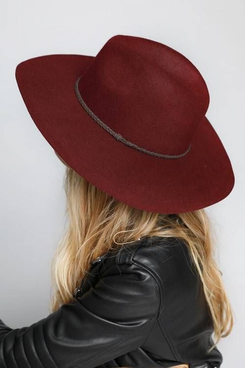 Burgundy Wide Brim Hat