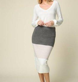 Knit Color Block Skirt