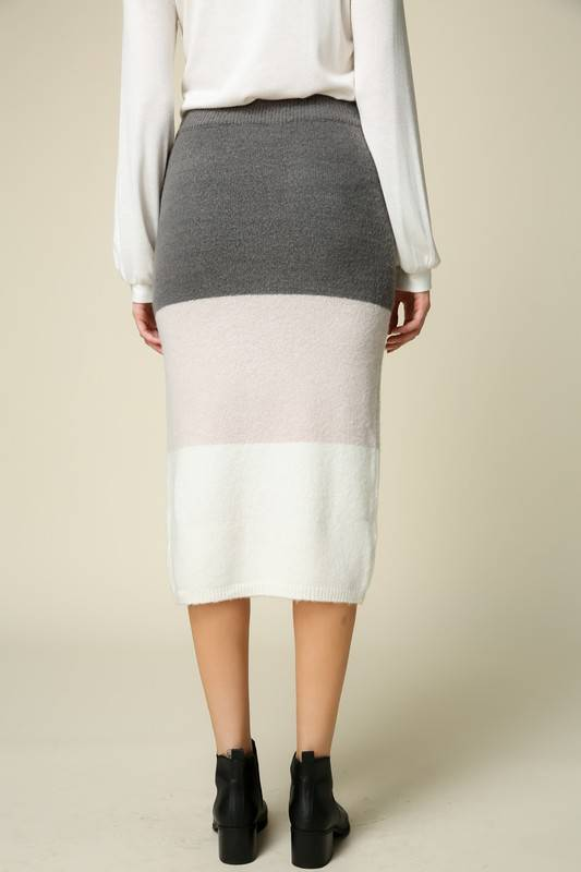 Knit Color Block Skirt
