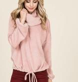 Cowl Tie Waist Sweater