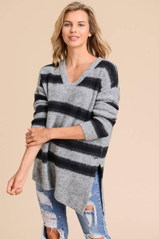 Stripe V-Neck Knit Sweater