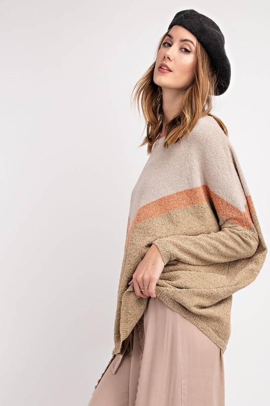 Color Block Chevron Sweater