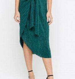 Green textured wrap skirt