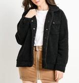 Faux Black Teddy Jacket