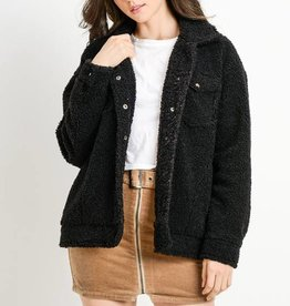 Faux Black Teddy Jacket