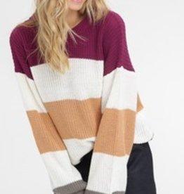 Stripe Bubble Sleeve Sweater
