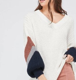Color Block Sleeve Sweater