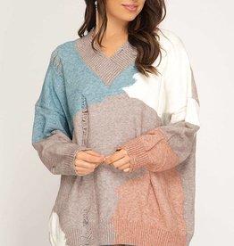 Distressed Colorblock Sweater