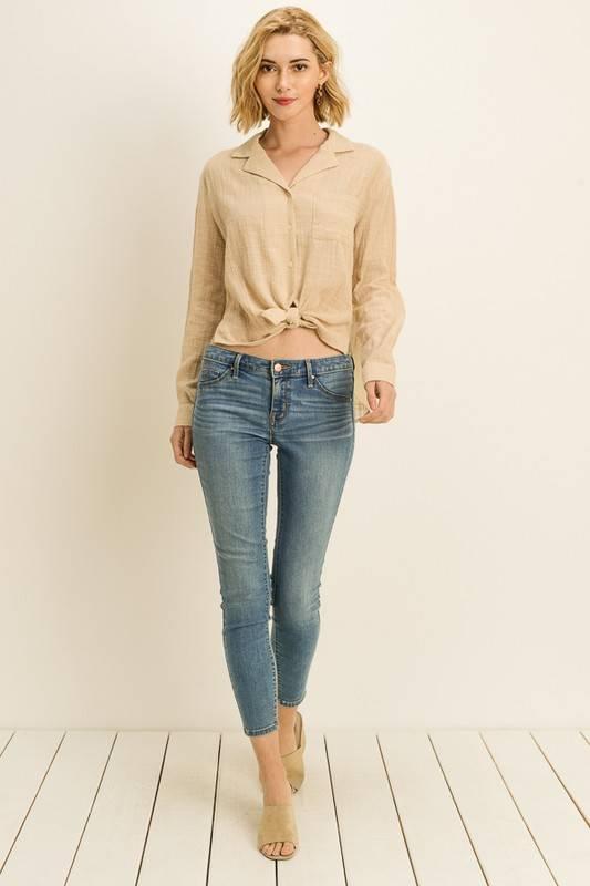 Button Front Linen Top