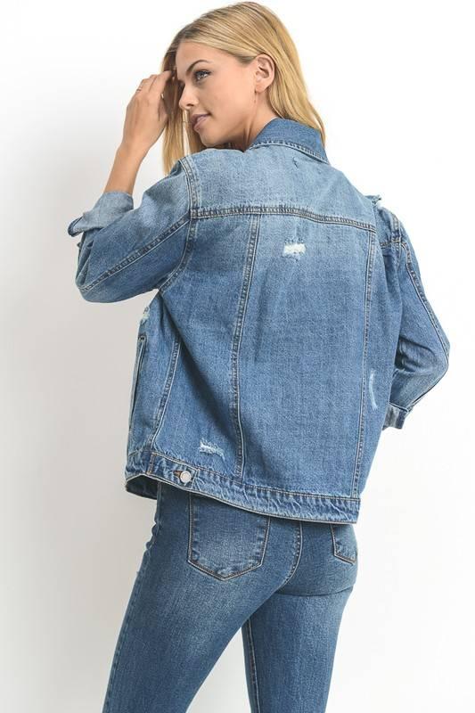 Distressed Oversize Jean Jacket