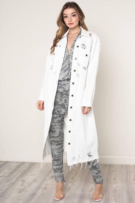 Distressed Long Denim Jacket